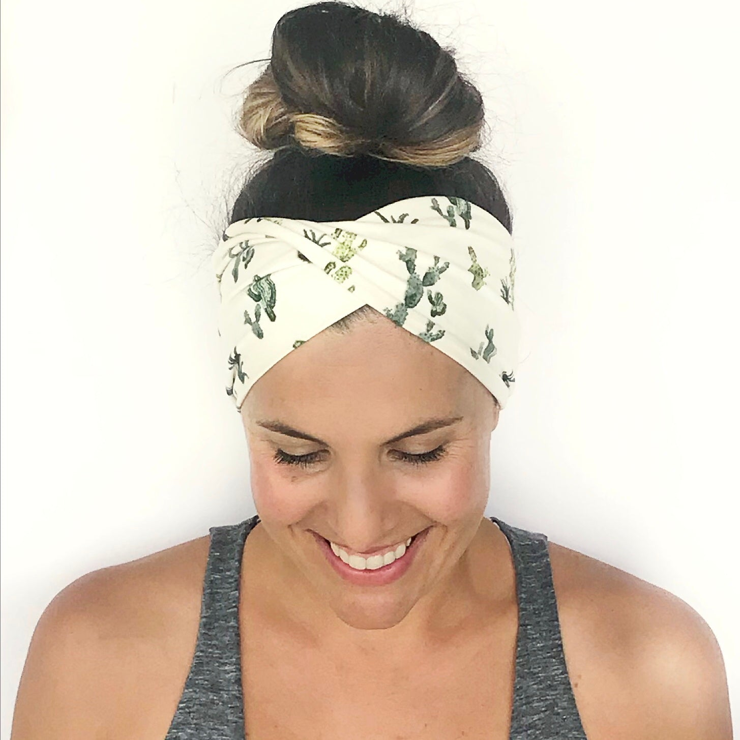 Cactus Cooler (Green/White) Double Twist Headband