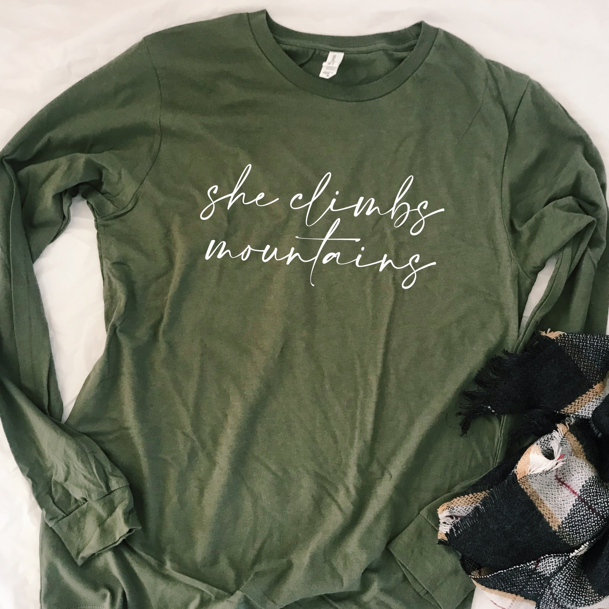 She Climbs Mountains Long Sleeve Tee