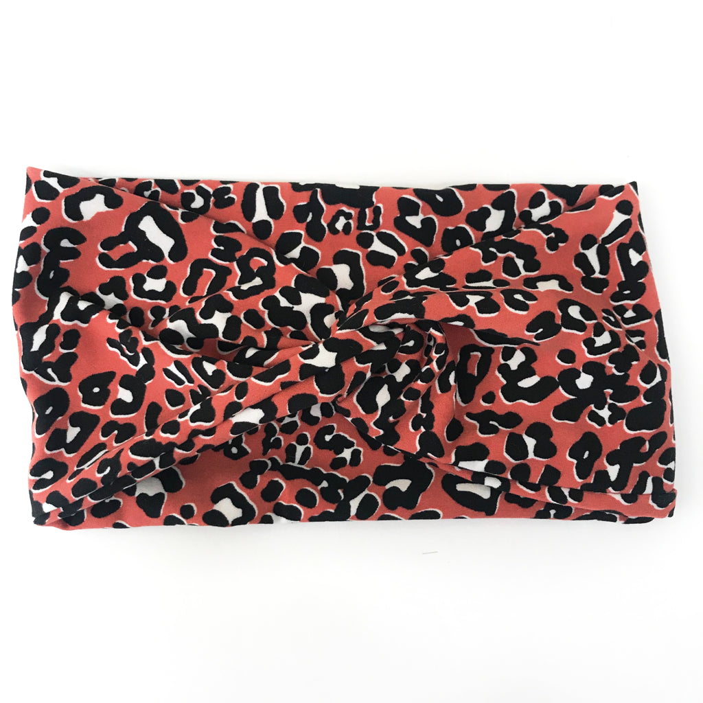 Rust Leopard Twisty Turban Headband