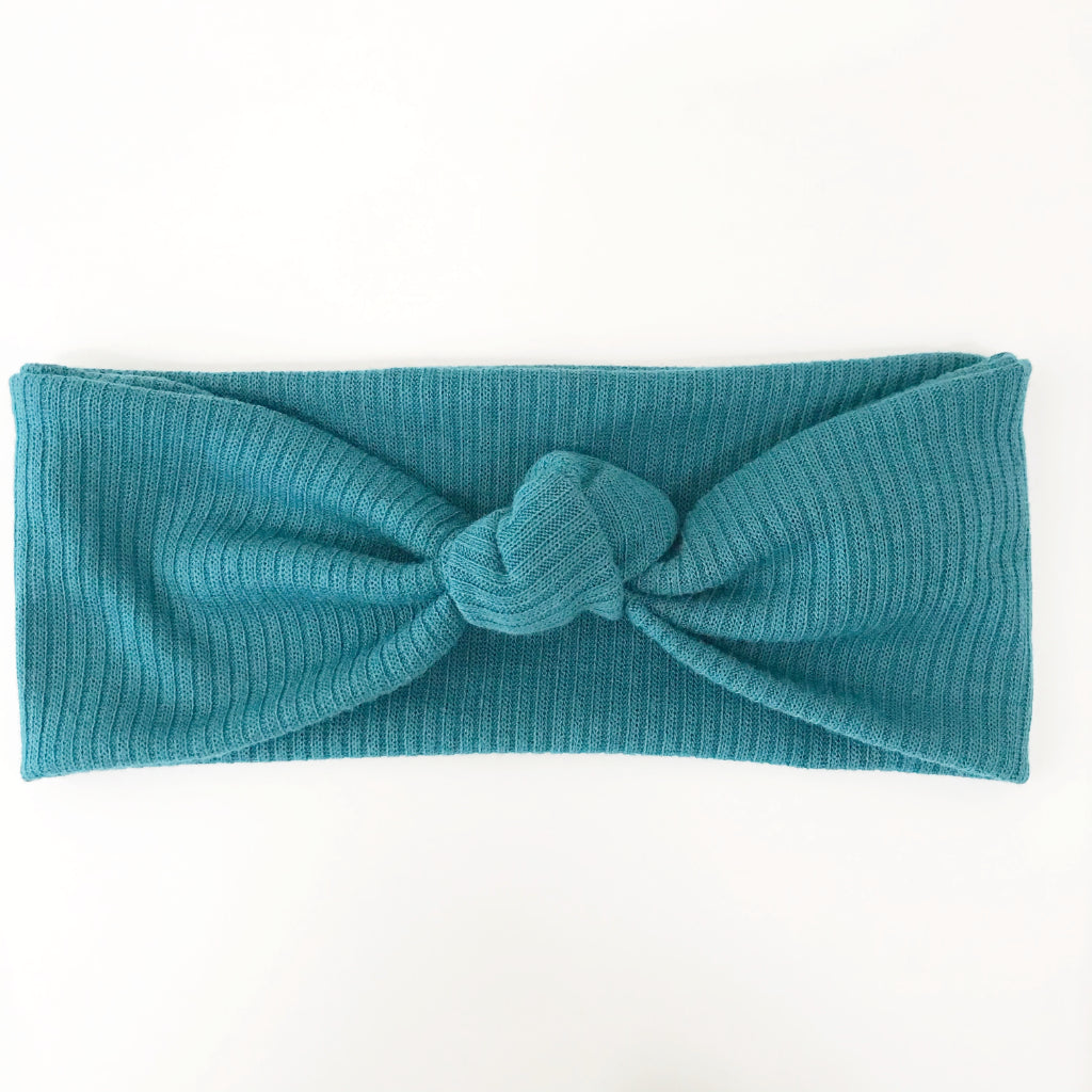 Deep Teal Ribbed Knotted Headband
