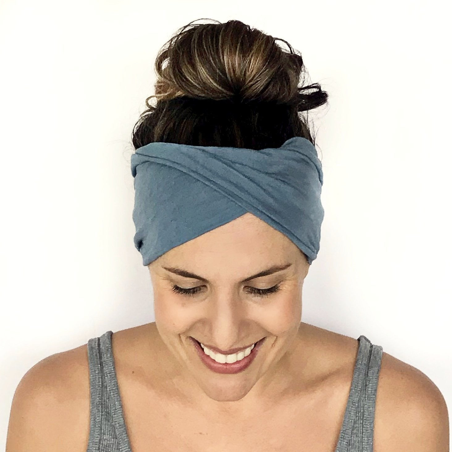 Stormy Blue Double Twist Headband