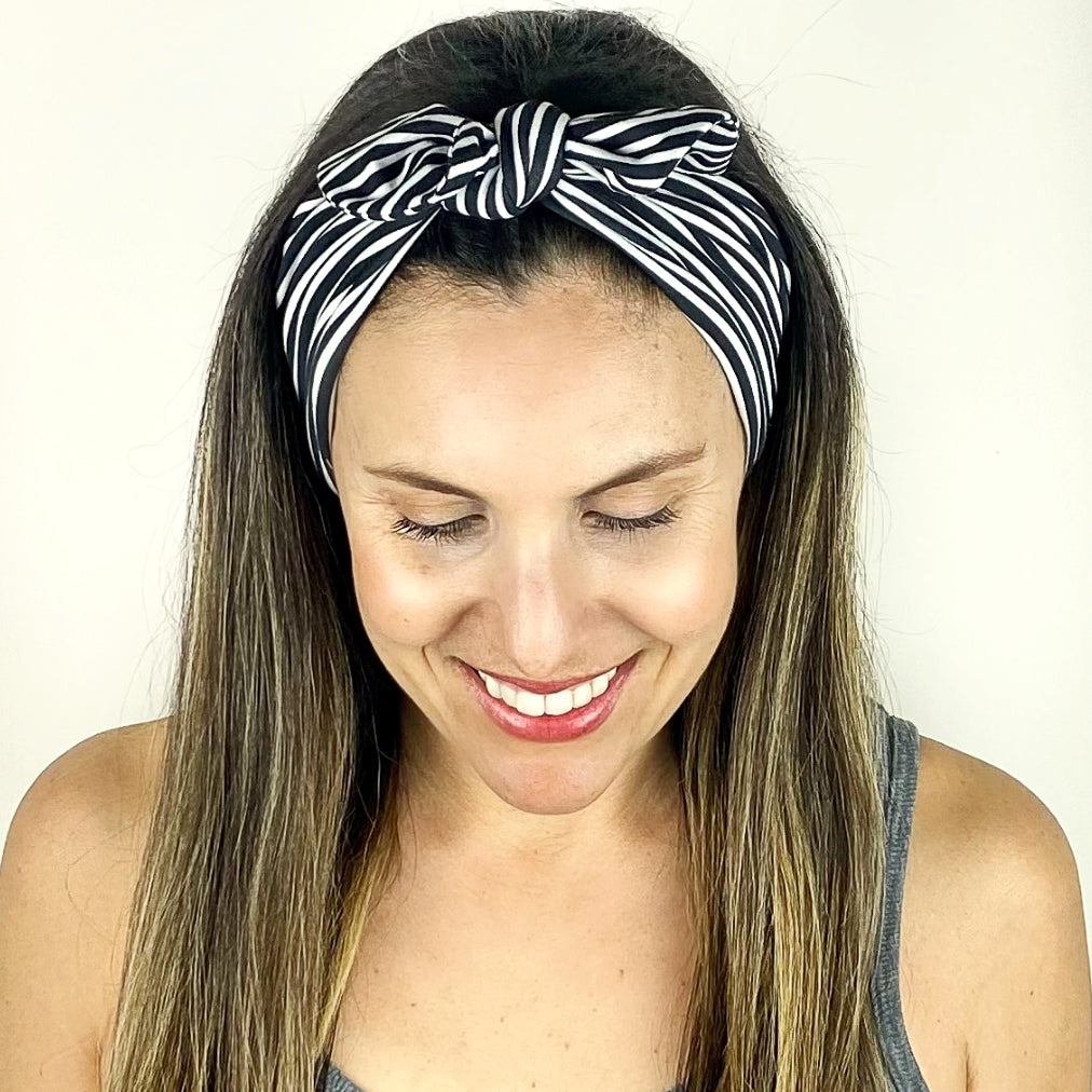 Black + White Stripe Tie Headband