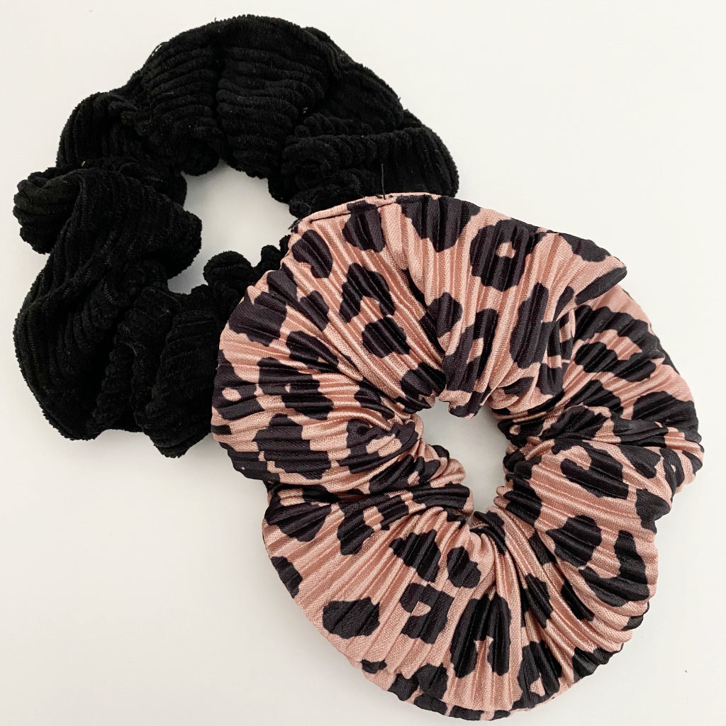 Blush Leopard + Black Corduroy Scrunchie Duo