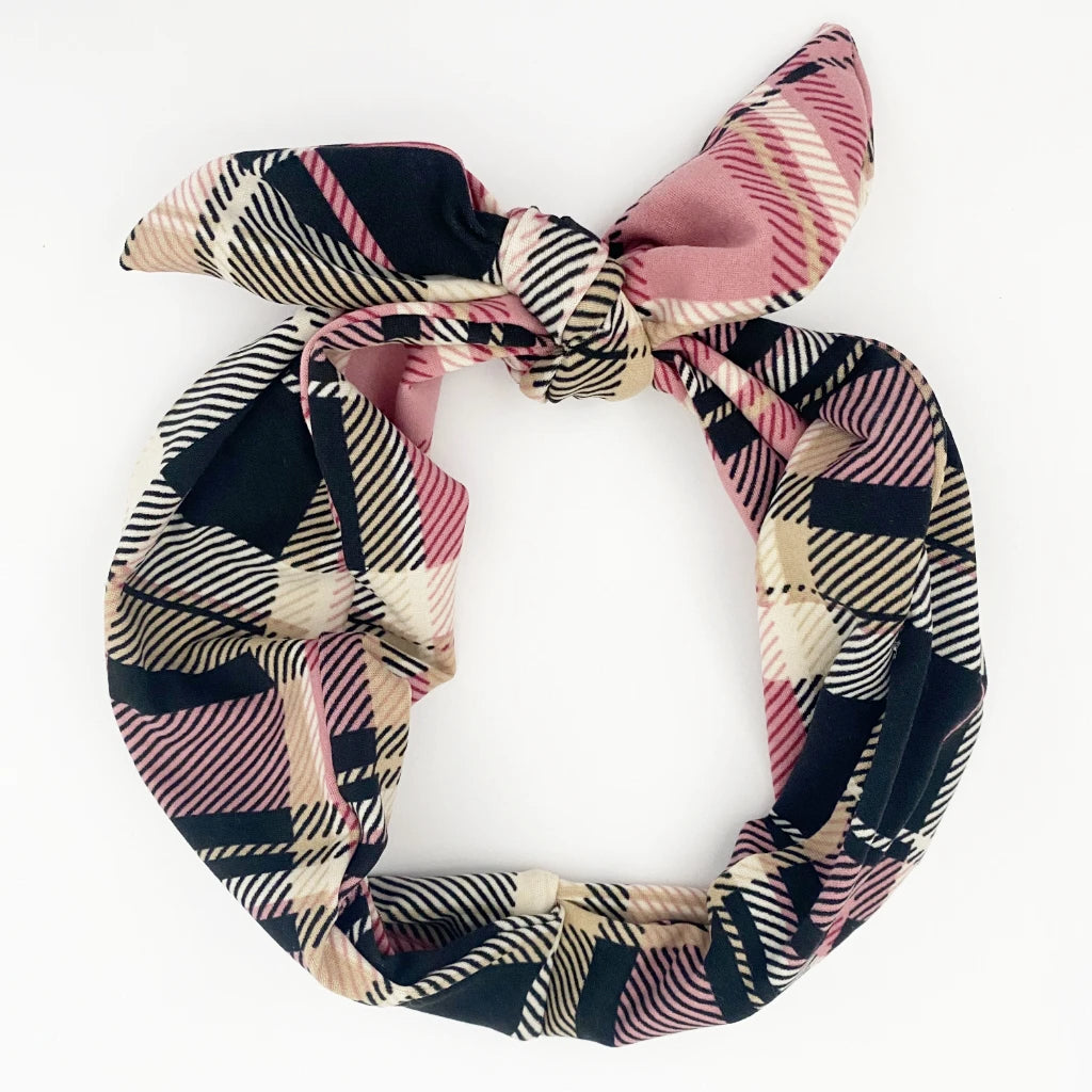 Blush Plaid Tie Headband