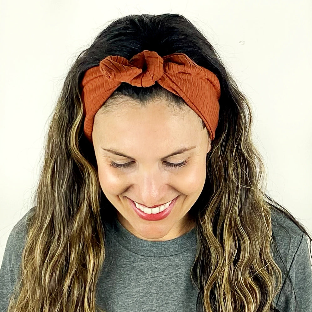 Ginger Ribbed Tie Headband