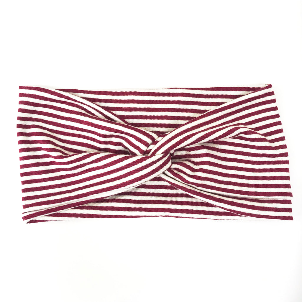 Burgundy + White Stripe Twisty Turban Headband