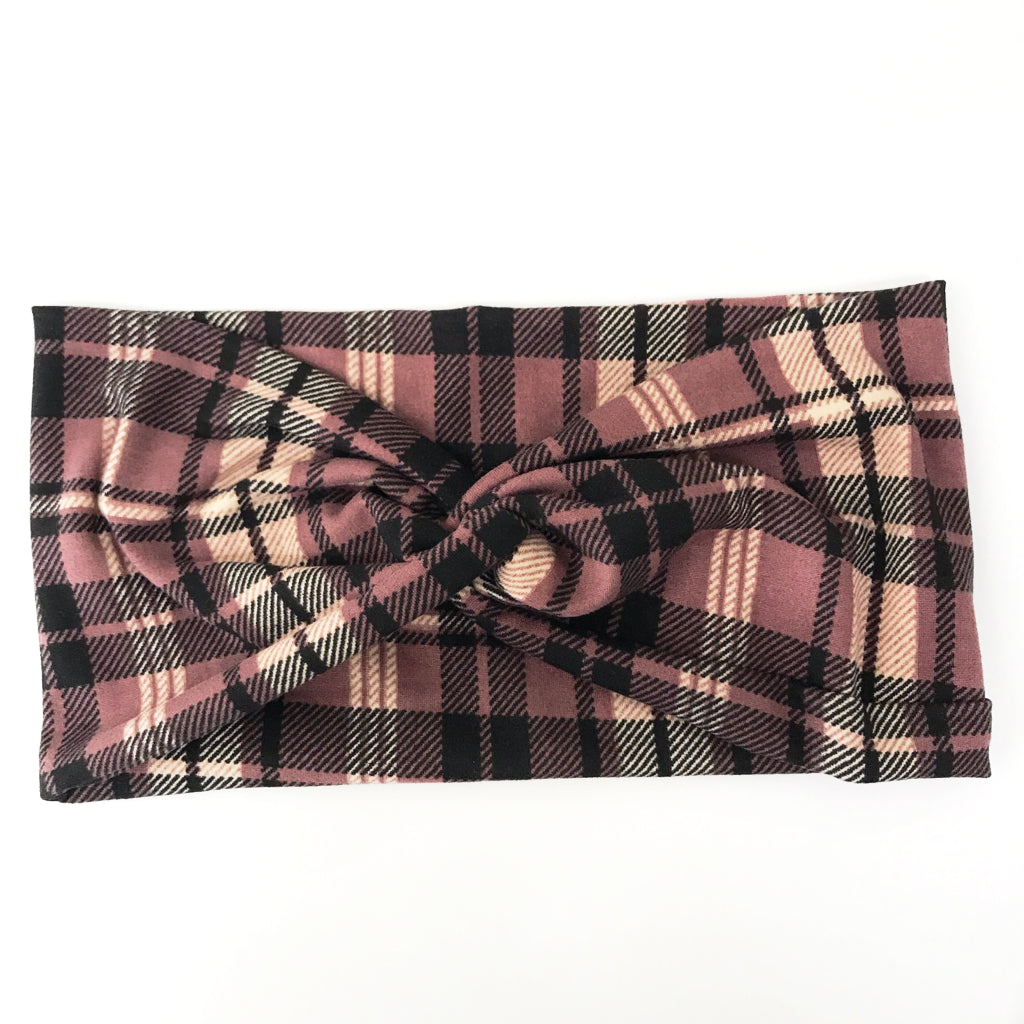 Mauve Plaid Twisty Turban Headband