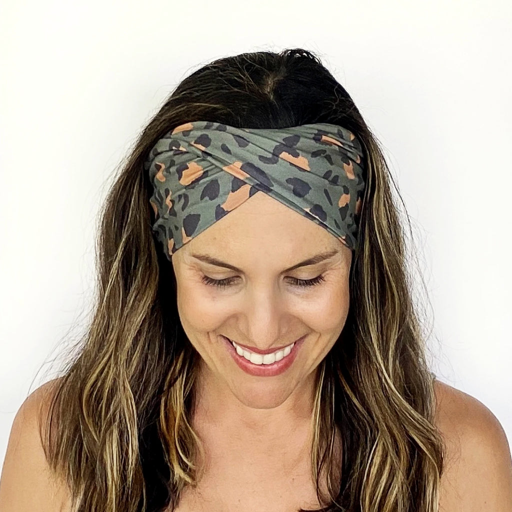 Green Leopard Double Twist Headband