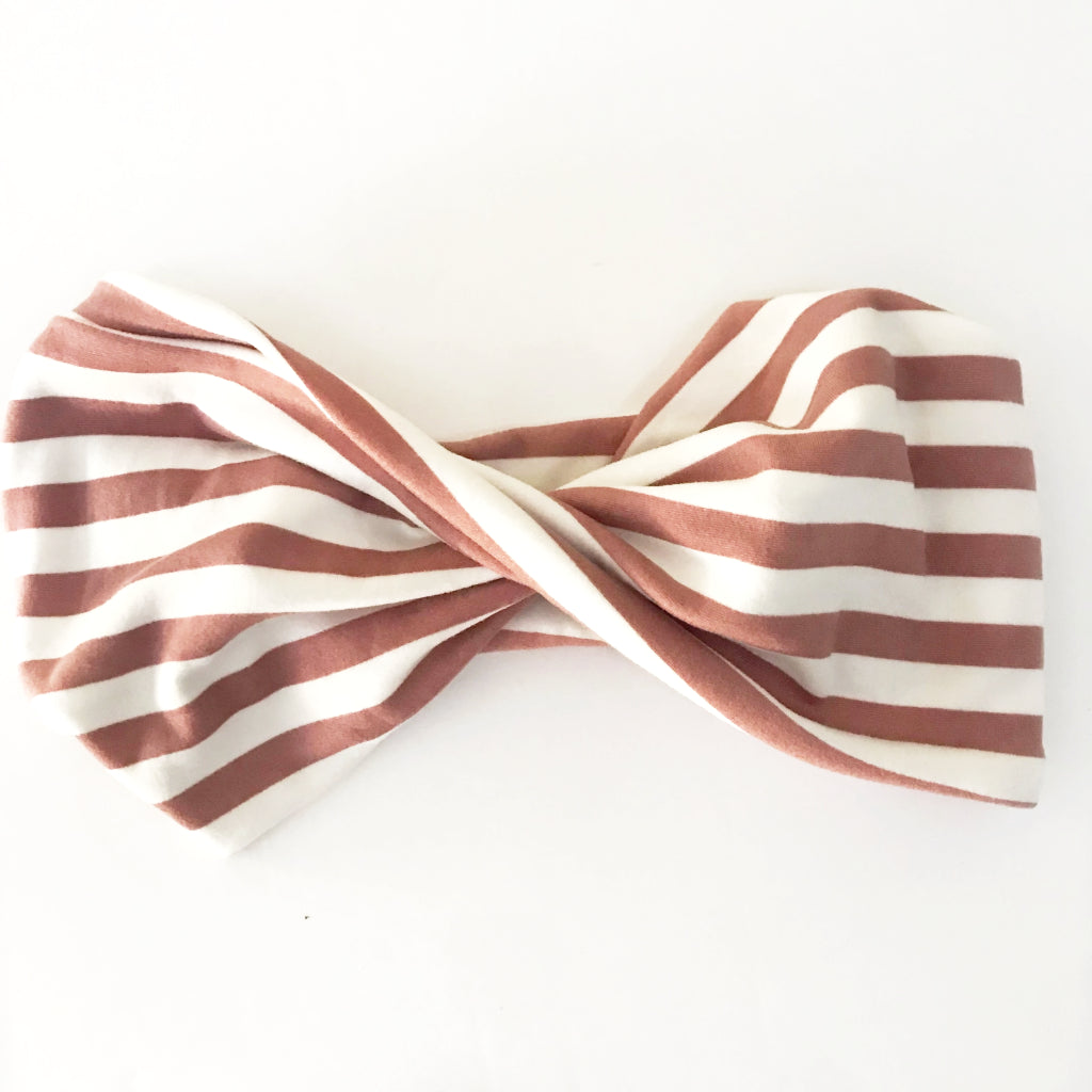 Blush Stripe Double Twist Headband