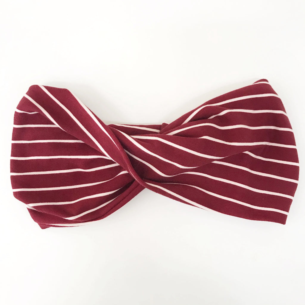 Burgundy Stripe Double Twist Headband