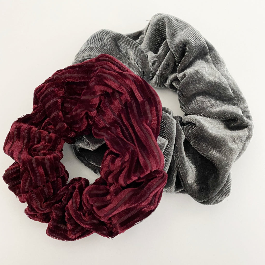 Burgundy + Grey Velvet Scrunchie Duo