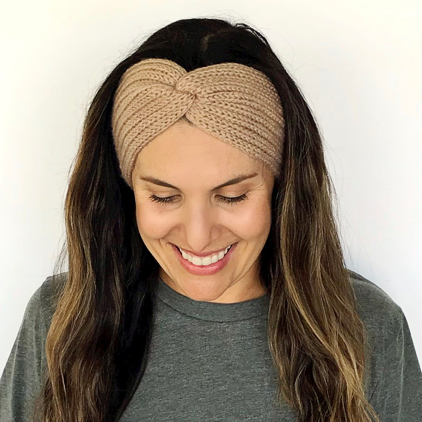 Camel Tan Knitted Turban Headband