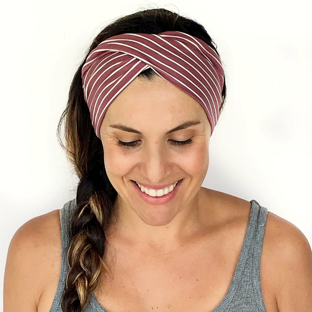 Mauve + White Double Twist Headband