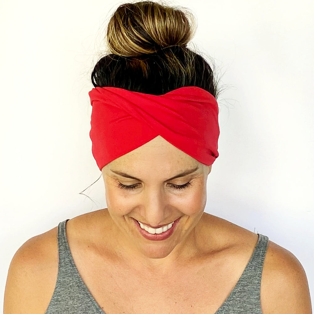 Solid Red Double Twist Headband