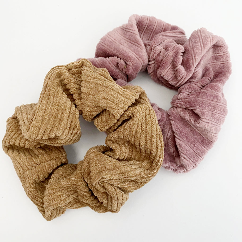 Blush Velvet + Tan Corduroy Scrunchie Duo