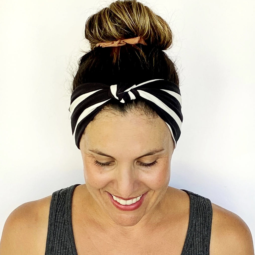 Black + White Knotted Headband