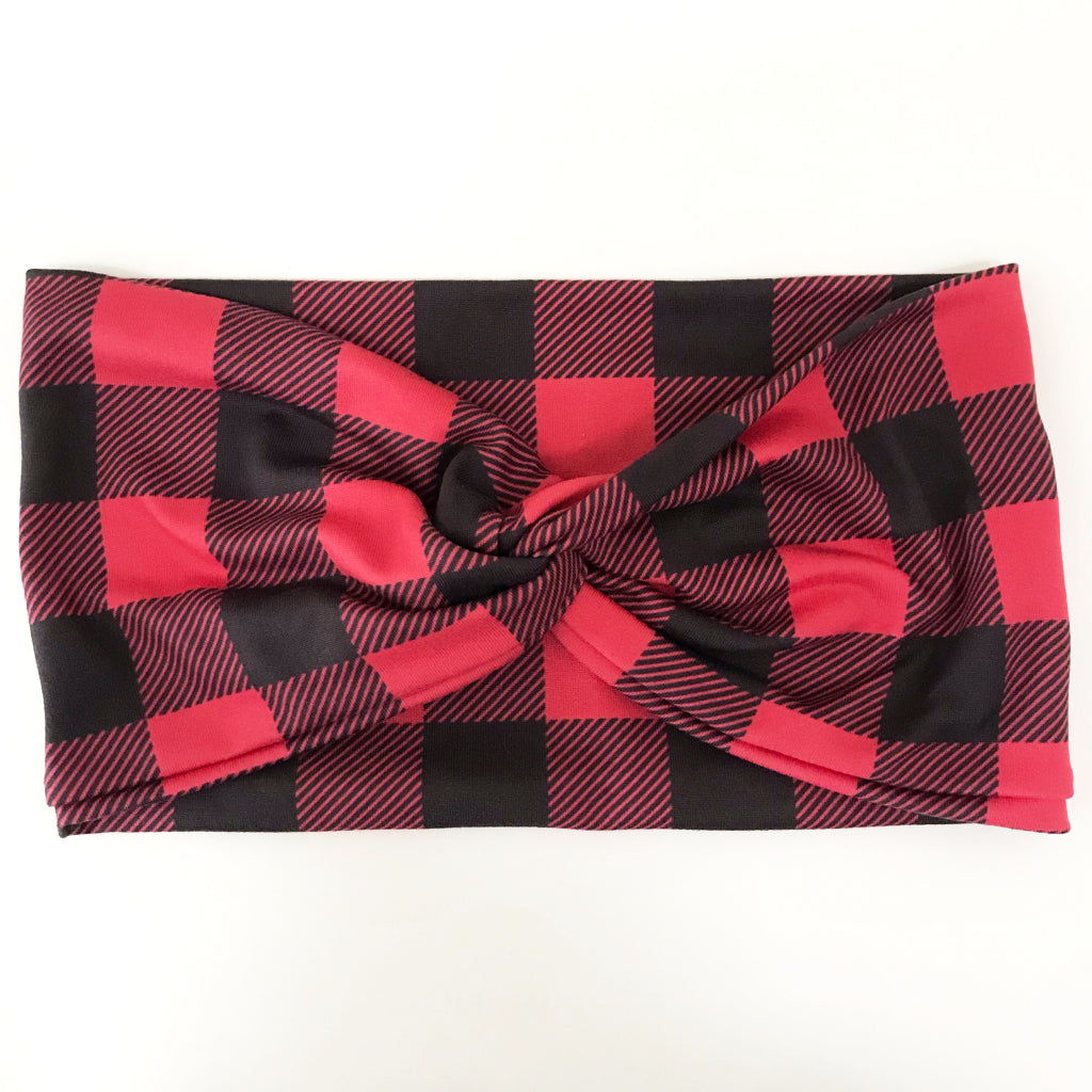 Buffalo Plaid Twisty Turban Headband