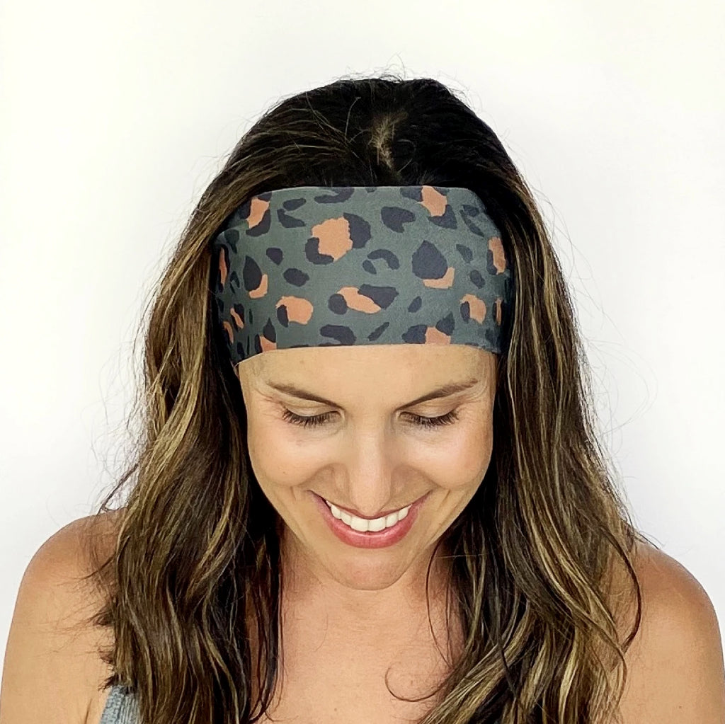 Dark Green Leopard Headband