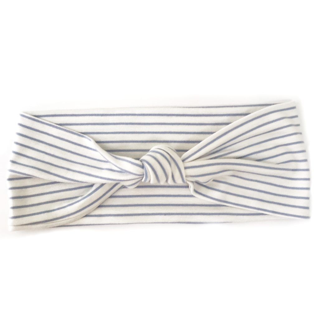 Chambray + White Stripe Knotted Headband