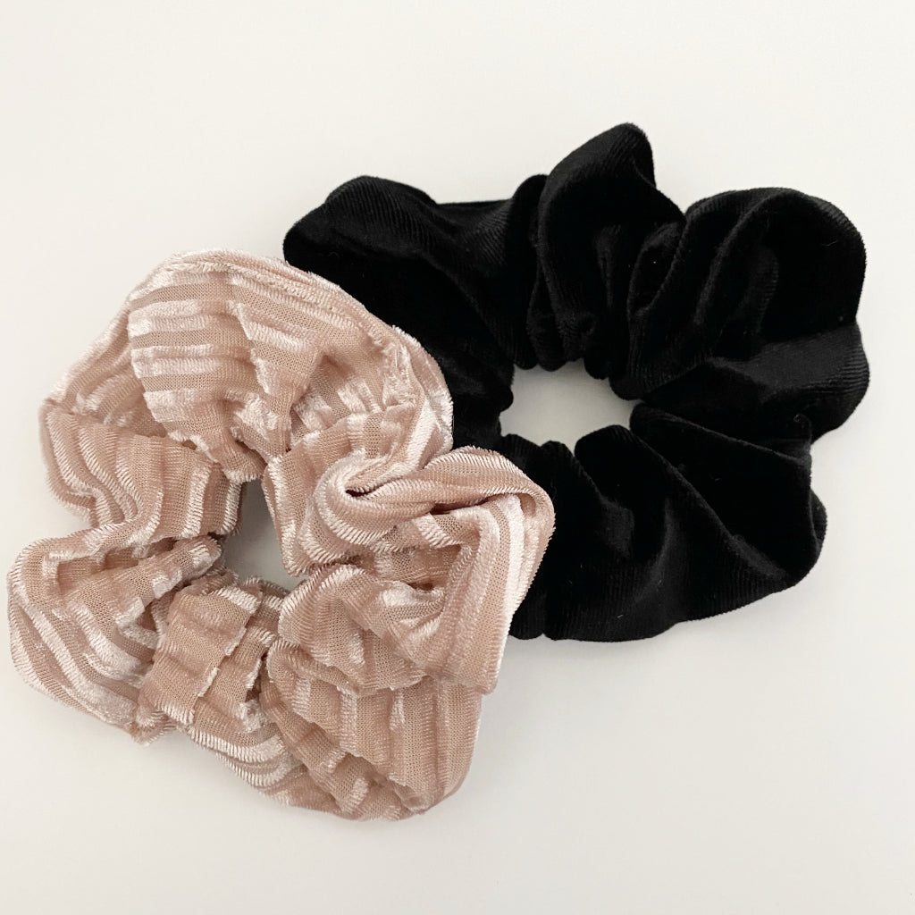 Black + Light Blush Velvet Scrunchie Duo