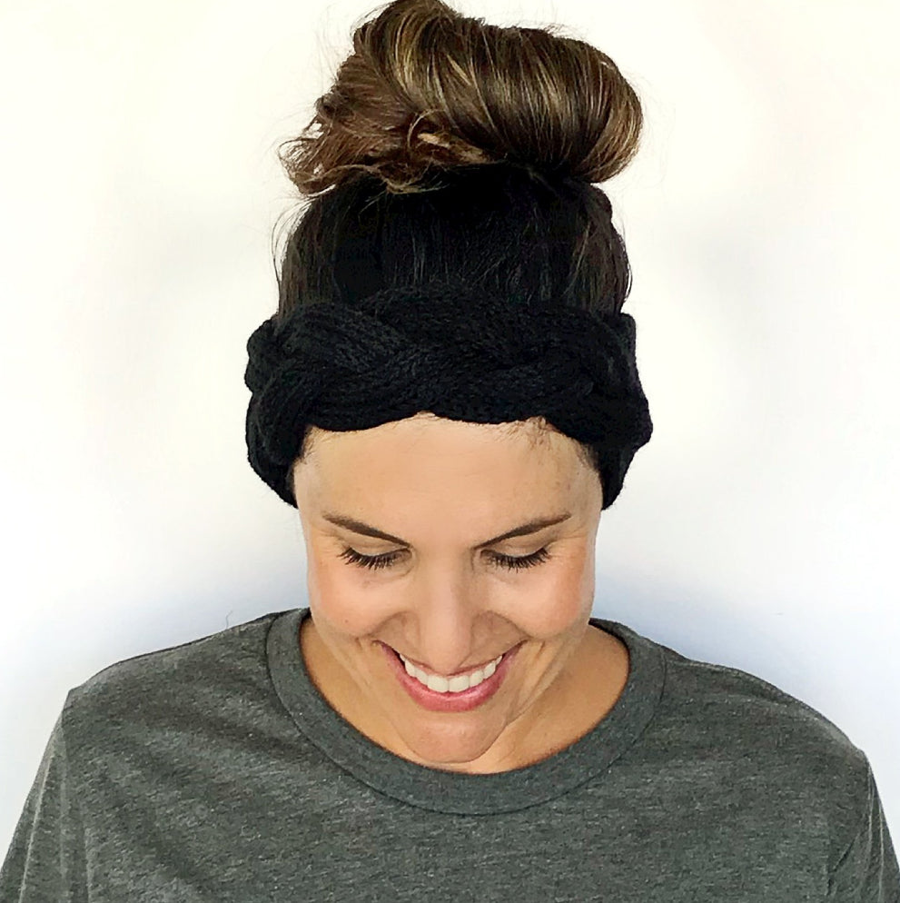 Black Braided Knitted Headband