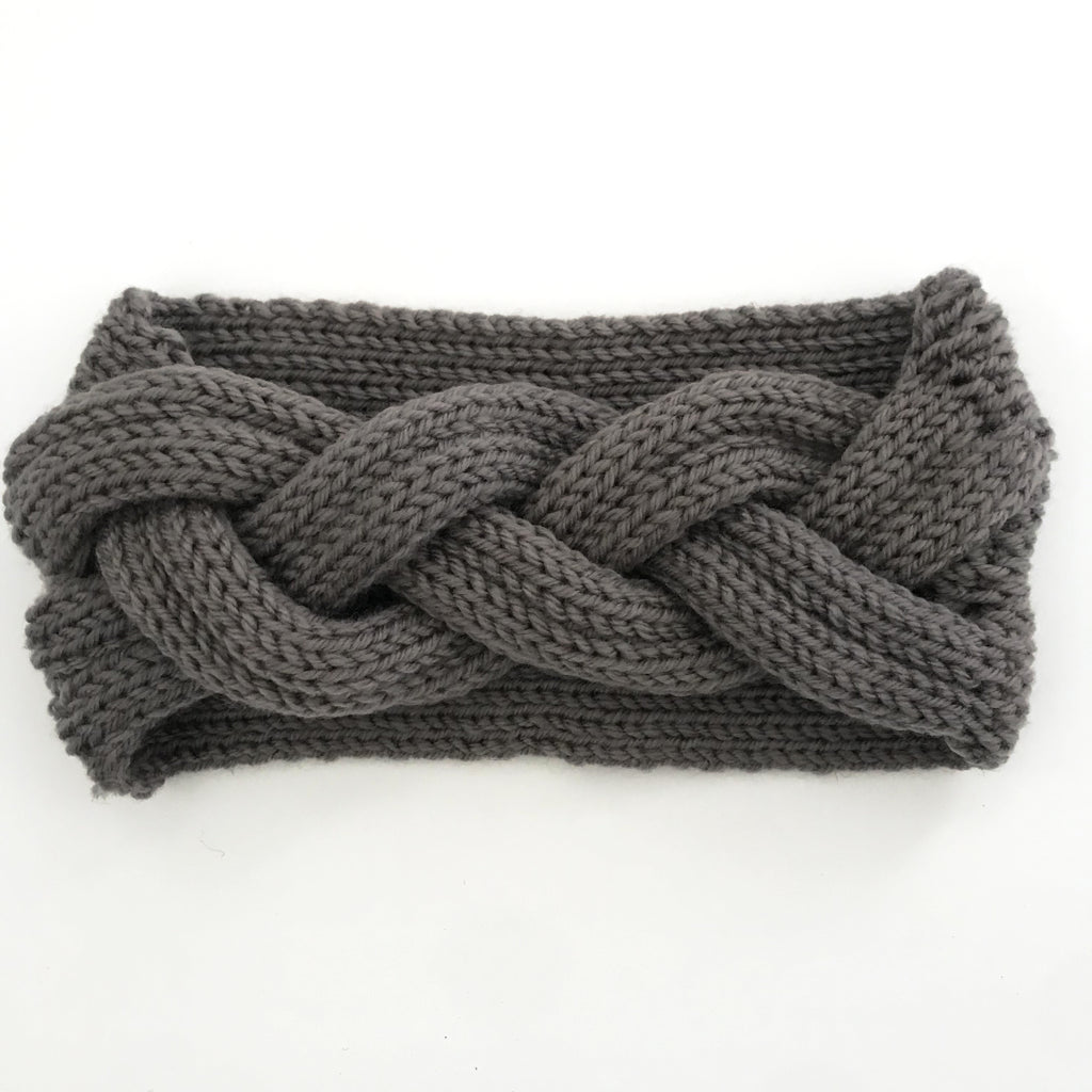 Grey Braided Knitted Headband
