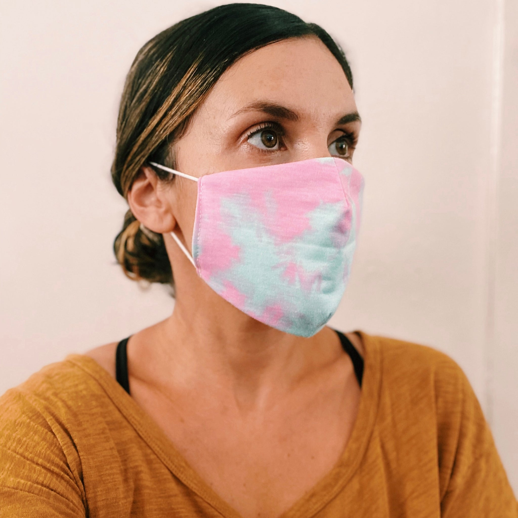 Pink/Yellow Tie Dye Face Mask