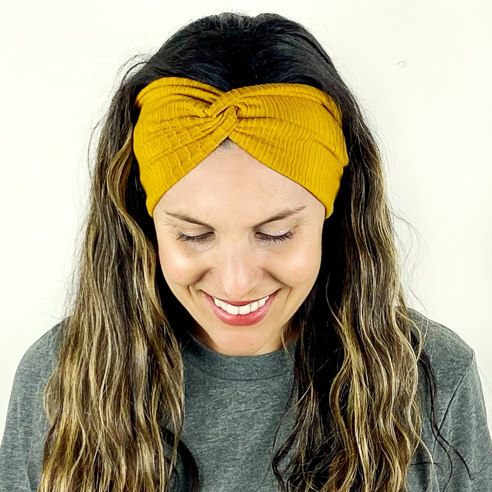 Honey Ribbed Turban Headband