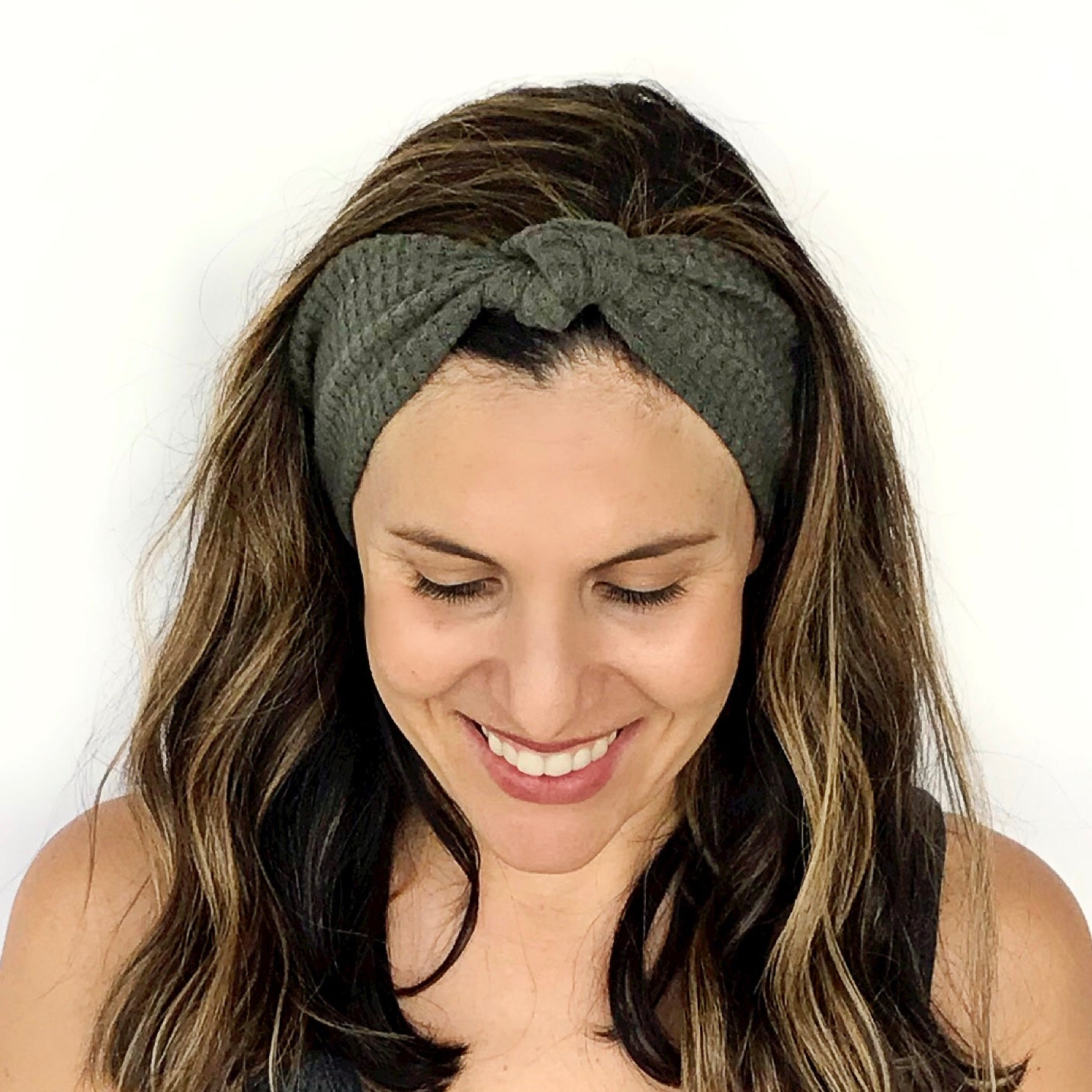 Forest Green Waffle Knotted Headband