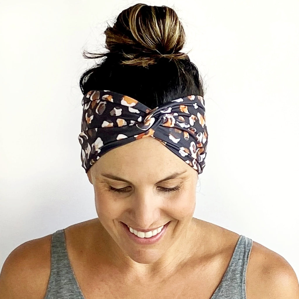 Watercolor Leopard Turban Headband
