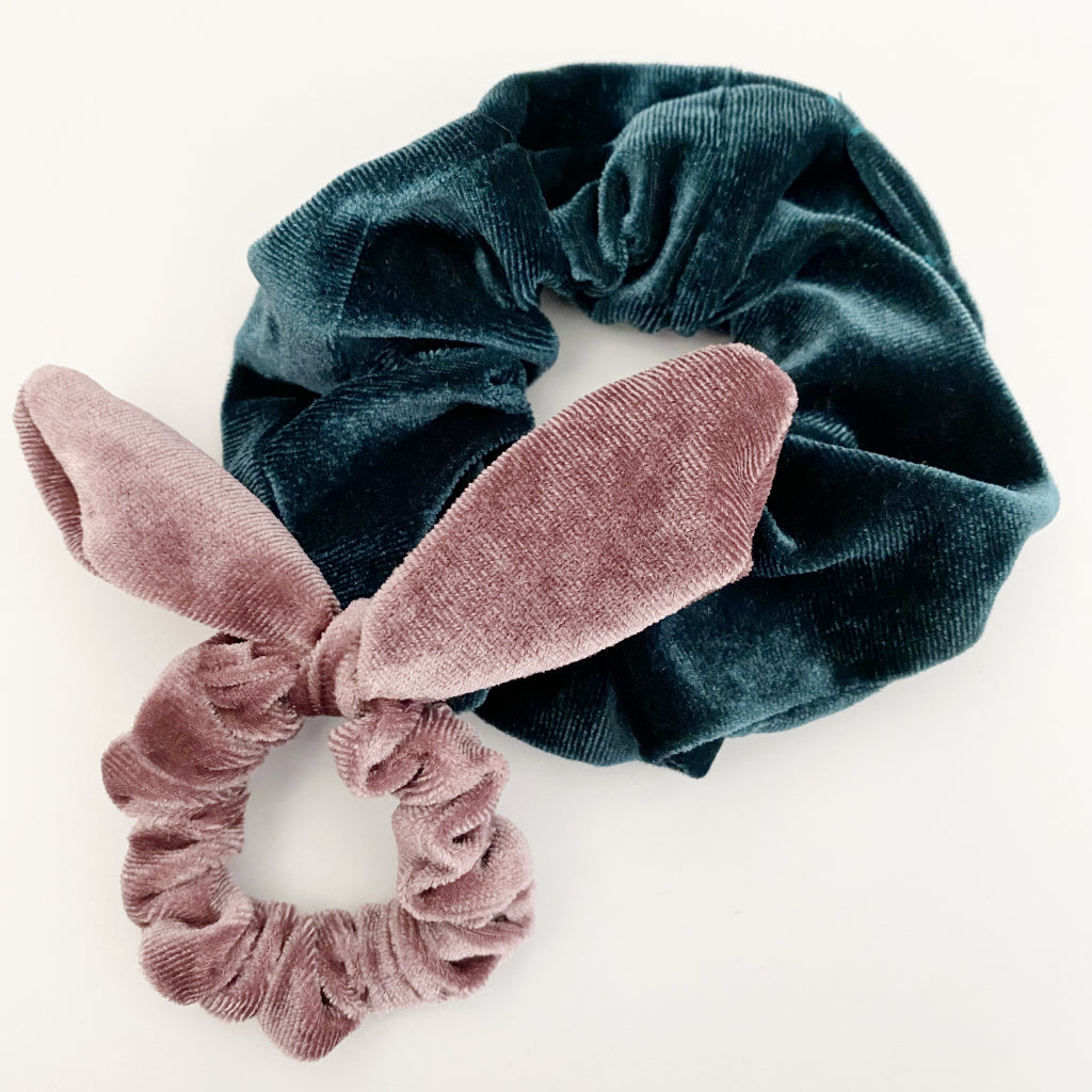 Blush Bunny Ear + Ocean Velvet Scrunchie Duo