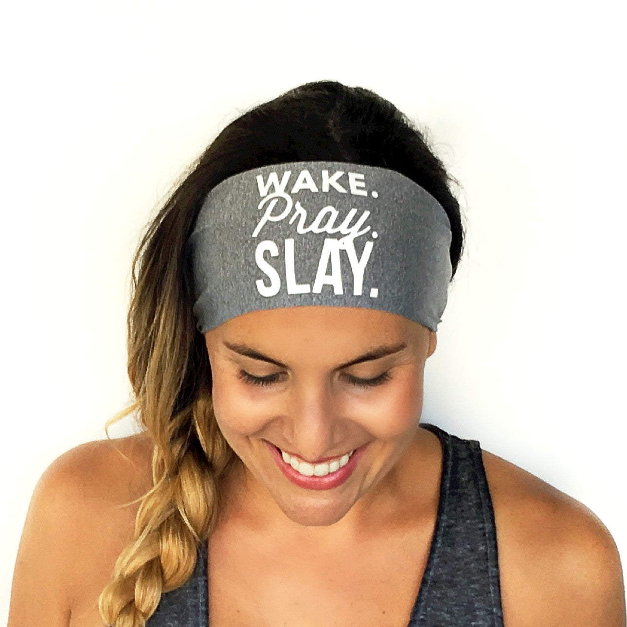 Wake Pray Slay Scripted Headband {Grey}