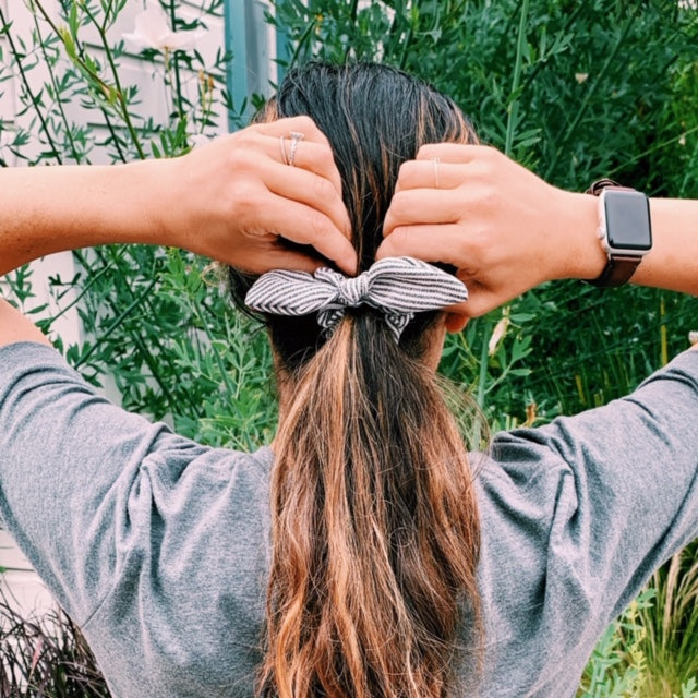 Striped Wired Bow Scrunchie