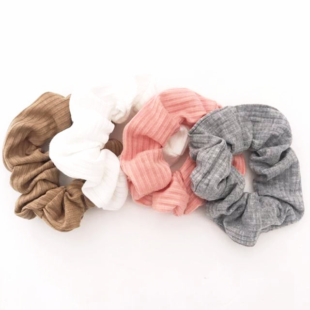 SET OF 4 Ribbed Scrunchies