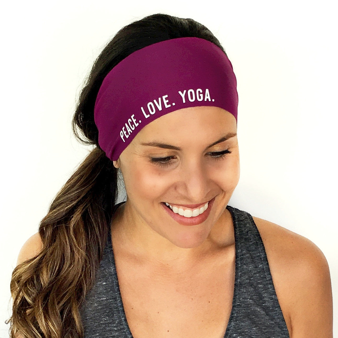 Peace. Love. Yoga Scripted Headband {Plum}
