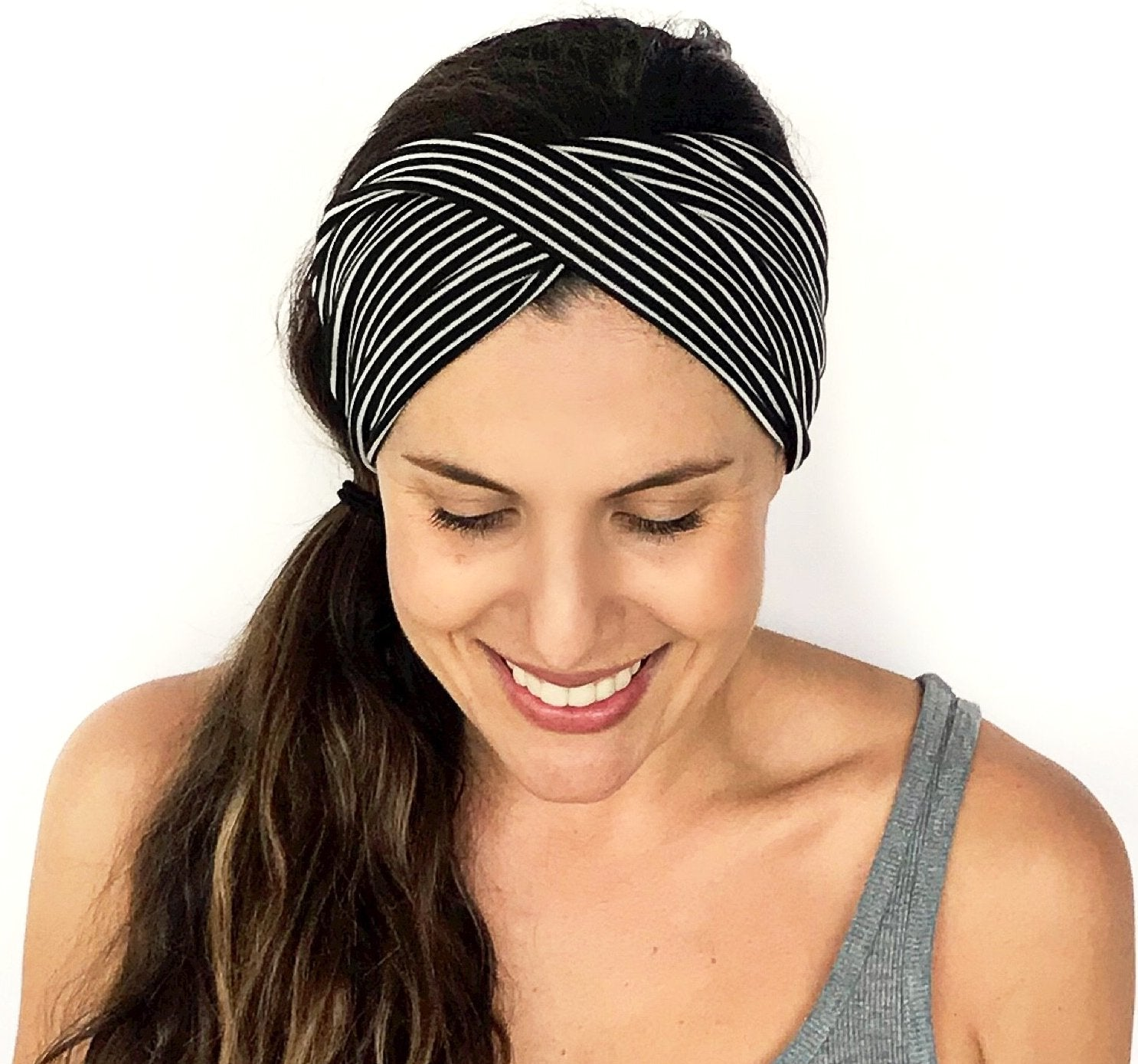 Black + White Stripe Double Twist Headband
