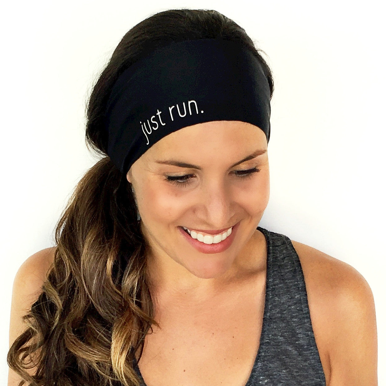 Just Run Scripted Headband {Black}