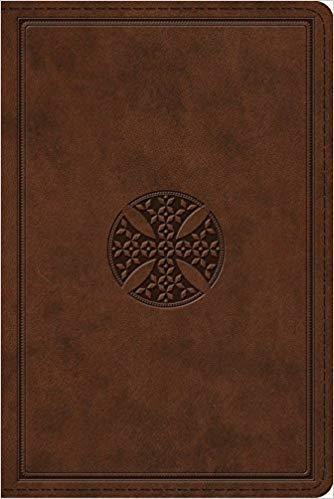 ESV Study Bible Personal Size Trutone Brown Mosaic Cross Design