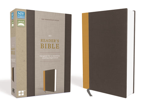 NIV, Reader's Bible, Cloth Over Board, Gold/Gray