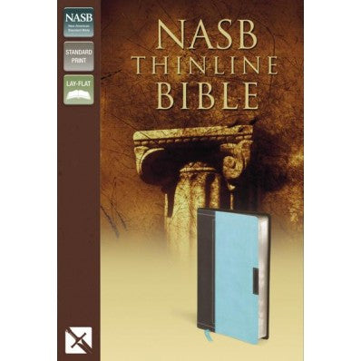 NASB, Thinline Bible, Imitation Leather, Brown/Blue, Red Letter Edition
