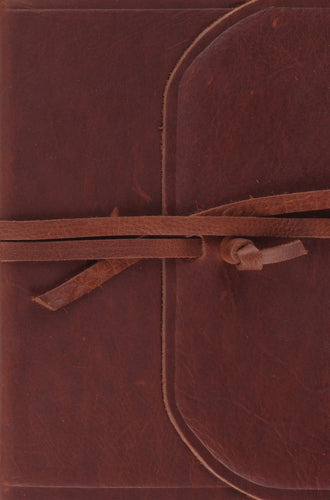 ESV Large Print Compact Bible Natural Leather, Brown, Flap with Strap