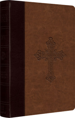 ESV Large Print Compact Bible (TruTone, Burgundy/Tan, Vintage Cross Design)