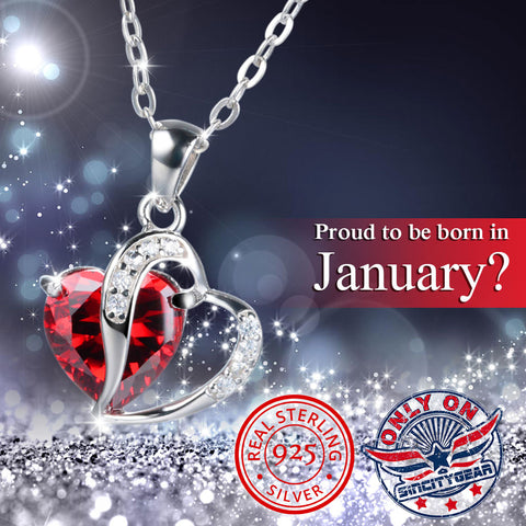 925 Sterling Silver Garnet Heart Necklace (January)