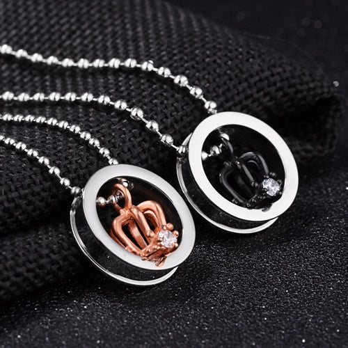 Couple King & Queen Floating Crown Necklace
