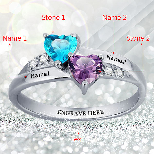 925 Sterling Silver Couple Custom Birthstone Ring