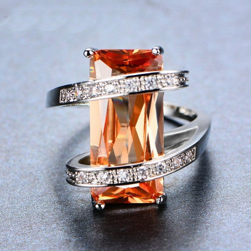 Geometric Citrine November Birthstone Ring