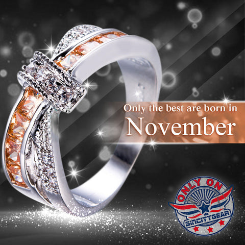 November Birthstone White Gold Filled Ring