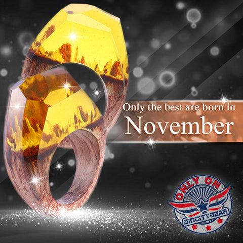 November Citrine Wooden Flower Ring