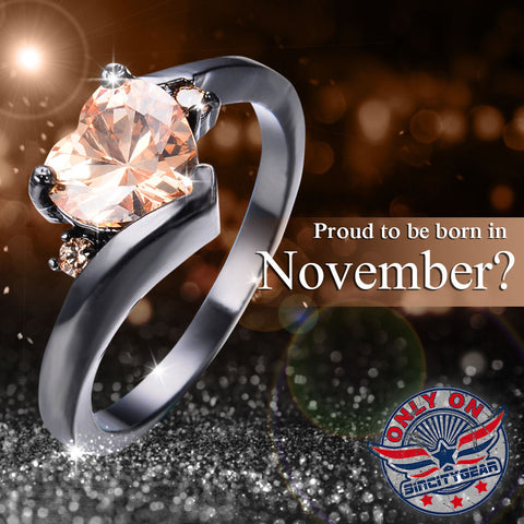 November Heart Birthstone Ring