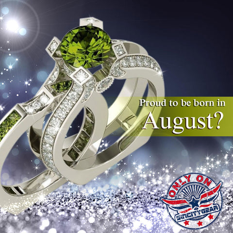 Silver Peridot (August) Birthstone Ring